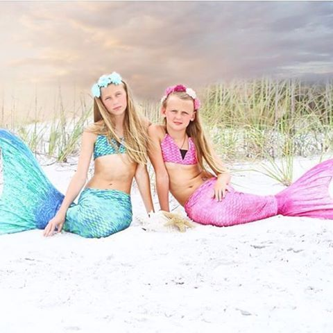 As mermaid sisters we are a pair, with sand in our hair- we don't care! We love feeling like real mermaids in our real swim-able mermaid tails from Fin Fun Mermaid!   Thanks @malleyblairmerritt #finfun #finfunmermaid #sand #beachhair #mermaid #mermaidlife