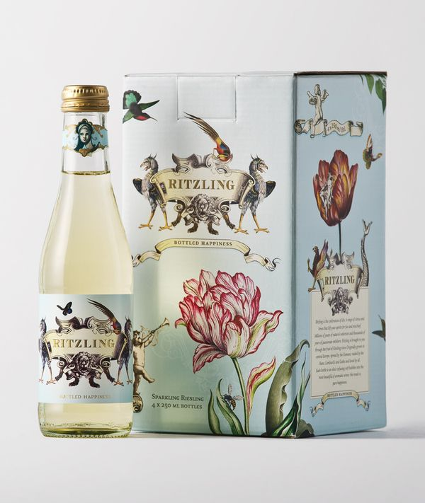 Package Design & Branding: Ritzling is a sparkling Riesling aimed at intelligent, chic women, who celebrate life every day. By Tardis Design, via Behance