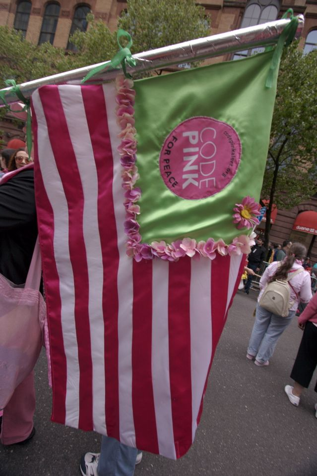 CODEPINK Women for Peace flag at demonstration in NYC.