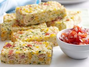 Light, cheesy and packed full of flavour, this tasty corn, bacon and zucchini rice slice is surprisingly filling and delicious enjoyed hot or cold.