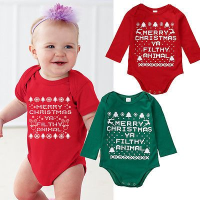 2016 Christmas Newborn Baby Boy Girls Clothes Baby Body Bodysuit Long Sleeve Outfits Clothes Gifts for 0-18M Toddler Kids