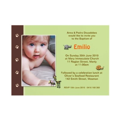 Jungle Boy Christening Invitations by Inviting Kids