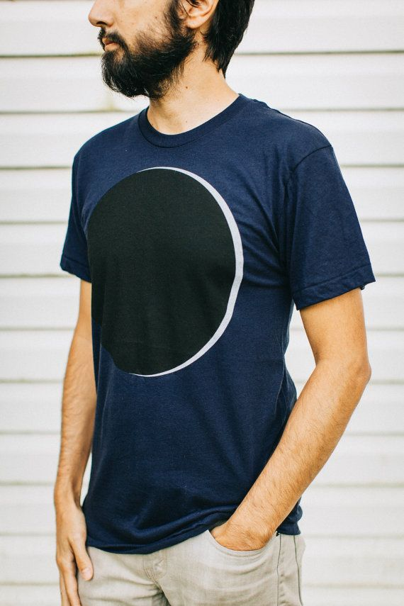 Umbraphilia - mens t shirt / tshirt men - solar eclipse graphic tee - black and white on navy blue - astronomy shirt for him - gift for men