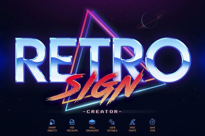 80 S Retro Sign Creator By Sko4 On Envato Elements Retro Sign Retro The Creator