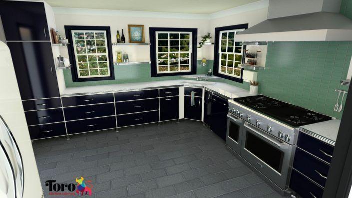 Toro Kitchen Cabinets Blue Powder Coated Steel Doors On Designer White Laminate Cabinets Kitchen Cabinets Steel Kitchen Cabinets Retro Kitchen