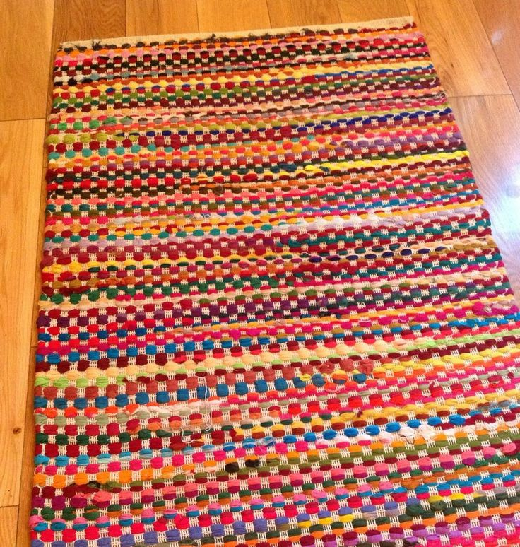 BEAUTIFUL FAIR TRADE RECYCLED MULTI COLOURED CHECK COTTON RAG RUG 60cm x 90cm