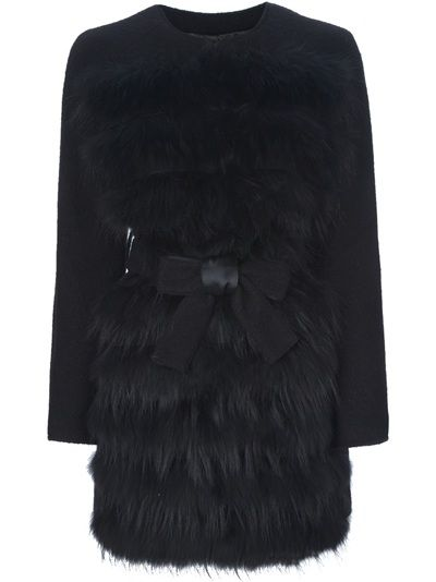 Black wool and racoon fur coat from Pinko featuring a round neckline, fur front, a bow belt fastening on front, front button fastenings and long sleeves.