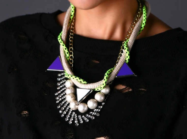 Kahei, Chunky Neon Necklace, with faux pearls, rhinestones, ropes and chains. statement necklace. $45.00, via Etsy.