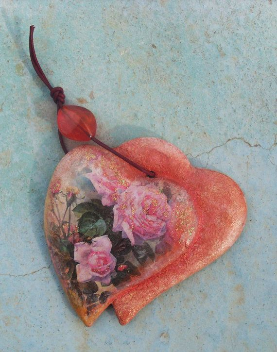 ROSE HEART Ceramic Heart  Home Decor by allabouthandicraft on Etsy