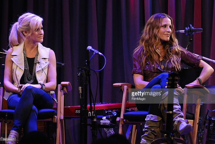 Martie Maguire and Emily Robison of The Court Yard Hounds onstage during a Q&A at The Grammy Museum on May 10, 2010 in Los Angeles, California.