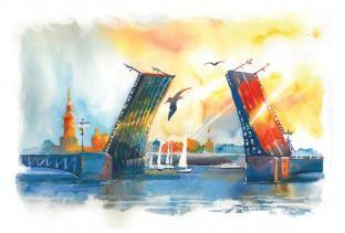 Открытка Санкт-Петербург акварель «Дворцовый мост, день»