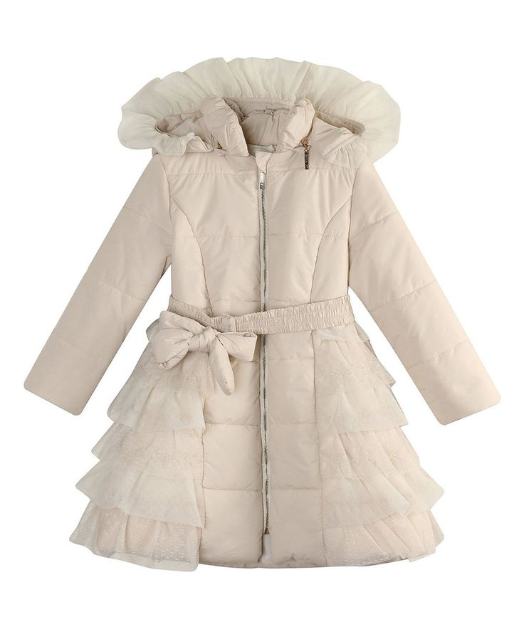 Look at this Cream Ruffle Tiered Puffer Coat - Toddler & Girls on #zulily today!