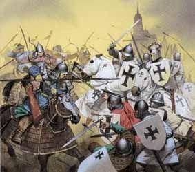 Pohjoismainen seitsenvuotinen sota (1563 - 1570) Saksalaisen ritarikunnan ritareita (mustin ristein merkityt ritarit) taistelussa.