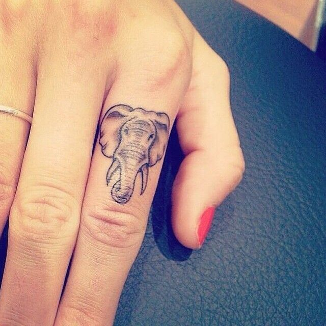 LOVE THIS FINGER TATTOO IDEA  #Elephant#Tattoo#FingerTattoo  #ElephantTattoo#Ink#Inked
