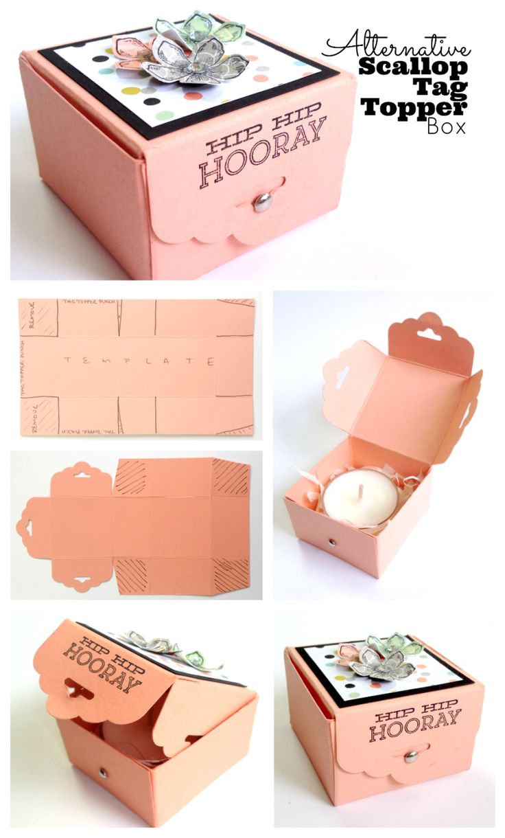 Craft hat boxes - Alt Scallop Tag Topper Box Cut Card Stock To 4 X 7 You Get Two Boxes From One Sheet Score Short Side At And 3