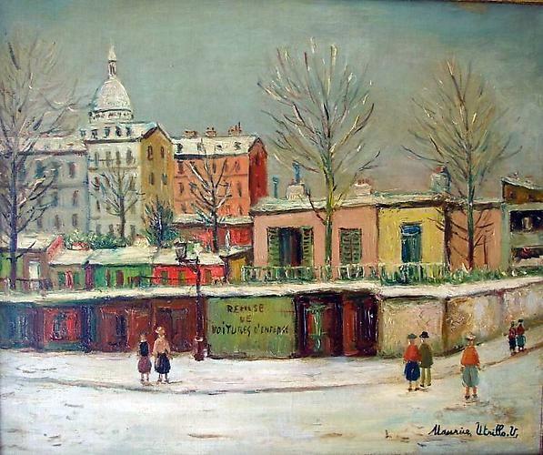 Le Remise de Voitures D'Enfants, Rue Lamarck a Monmartre, 1945 Oil on canvas, 18 x 21 ¾ inches (45.7 x 55.2 cm) Signed lower right: Maurice Utrillo. V