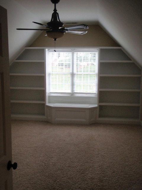 Shelves and window seat in Bonus Room.