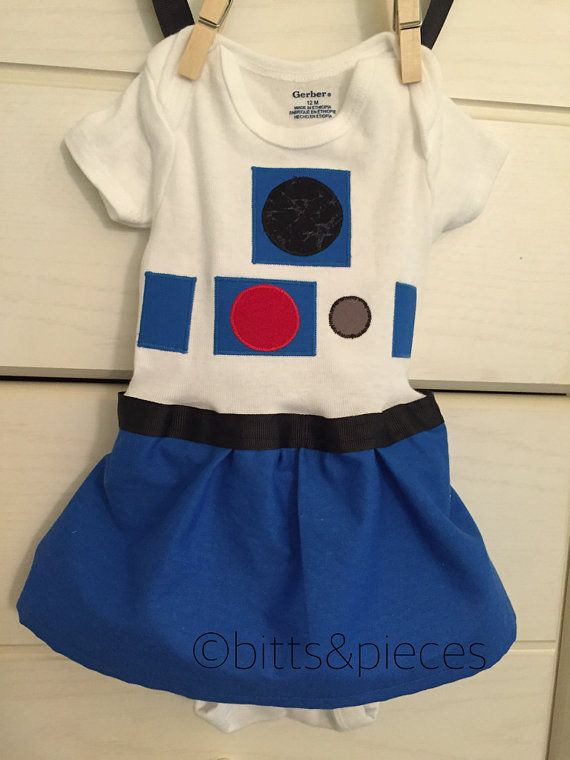 R2D2 Inspired Onesie for newborn to 12 by shopbittsandpieces