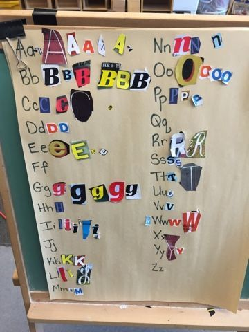 Simple, on-going collage alphabet chart using environmental print from magazines.