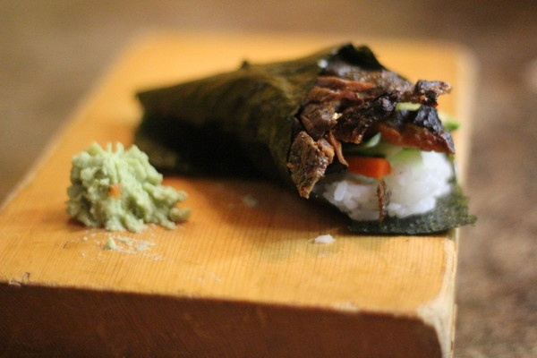The salmon skin hand roll was crunchy deep-fried skin wrapped in rice in a cone-shaped roll. This one comes from Z Sushi Cafe in French Valley, Calif.
