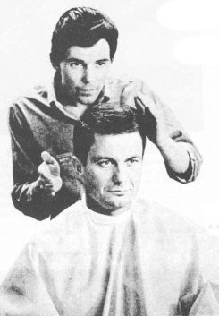 "picture of Jay Sebring styling Cliff Roberstson for his role as ""JFK.""  He would soon be murdered with Sharon Tate by the Manson Family."