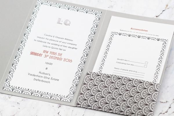 A5 grey digitally printed pocket folder. 1 main letterpress printed invite card and 3 additional letter pressed single sided cards. www.shopsecretdiary.co.za #letterpressed #secretdiary #greyinvitation #invitation