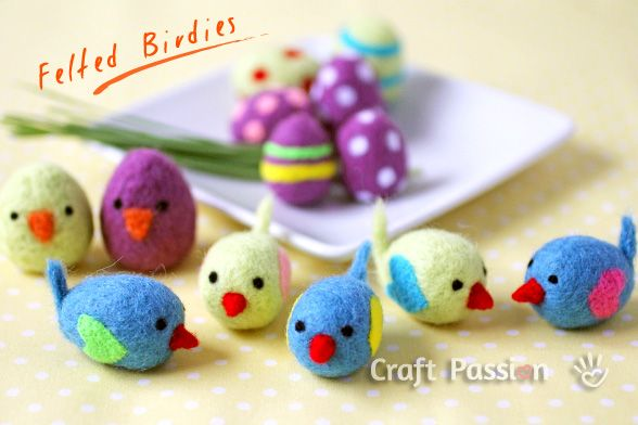 make some Easter felt birdies, with written, photo and video tutorial.