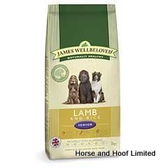 James Wellbeloved Lamb Rice Senior Dog Food 2kg James Wellbeloved Lamb Rice Senior Dog Food is packed with easily digestible proteins carbohydrates to ensure the less active or older dog stays in good condition.
