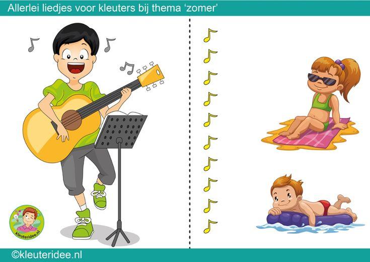 Interactieve liedlijst, thema zomer voor kleuters, kleuteridee.nl