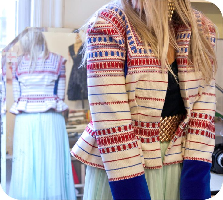 Jackets made of traditional woven fabric from Heves by Piroshka Design http://www.budapestwithus.hu/heinrich-alkotoi-szint/