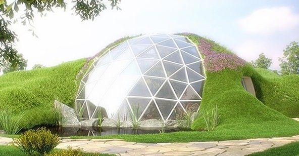 Green Roof Geodesic Dome Earth Sheltered Homes Dome House Geodesic Dome Homes
