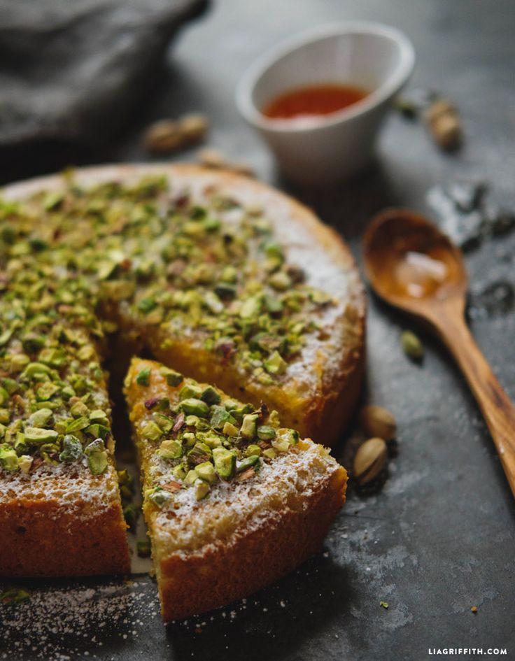 Orange and Cardamom Almond Cake with Pistachio