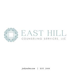 Logo design for East Hill Counseling Services in soft tones of blue, gray-blue. Feel so at ease looking at this one!