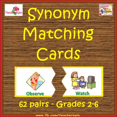 A Matching Activity for #Synonyms $ale #ela #vocabulary #edu $