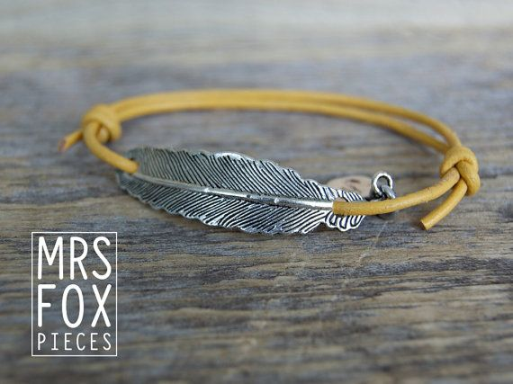 Leather bracelet - With silver brass feather - Handstamped tag - Fashionable - Hipster - Yellow or Black - Adjustable with slibknot