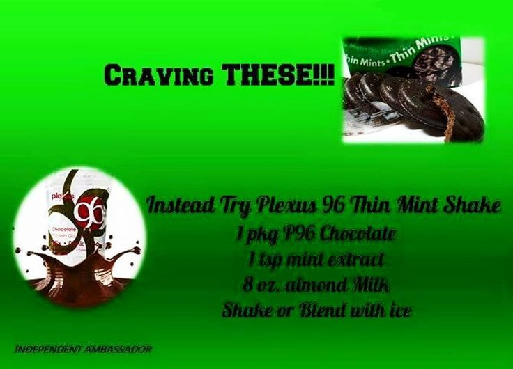 CRAVING THESE!!! Instead, Try Plexus 96 Thin Mint Shake: 1 package Plexus 96 Chocolate, 1 teaspoon mint extract and 8 ounces almond milk. Shake or blend with ice.