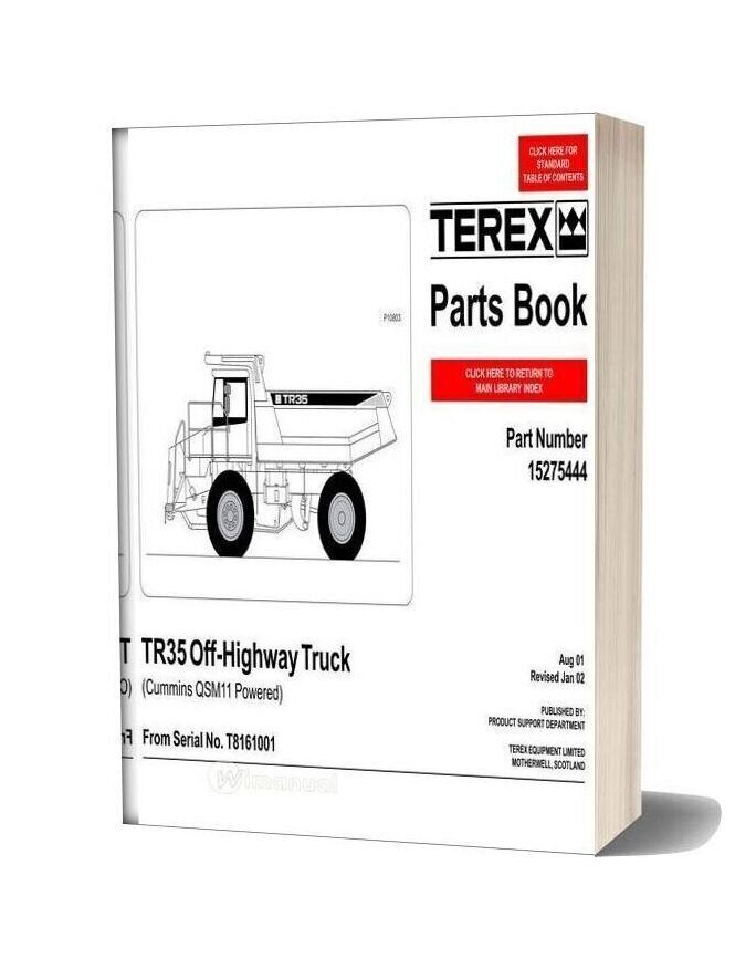 Terex Tr35 Off Highway Truck Parts Book 16t15654 In 2020 Truck Parts Trucks Books