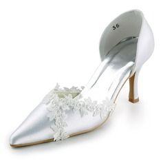 Bröllopsskor - $52.99 - Kvinnor Satäng STILETTKLACK Stängt Toe Pumps med Stitching Lace  http://www.dressfirst.se/Kvinnor-Sataeng-Stilettklack-Staengt-Toe-Pumps-Med-Stitching-Lace-047005737-g5737