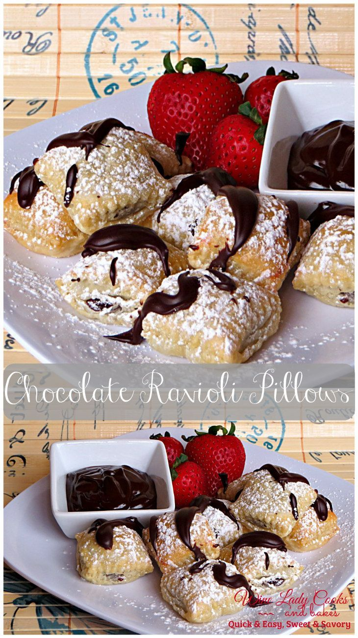 Chocolate Ravioli Pillows for dessert anytime, any occasion are easy to make. Click thru for easy recipe.