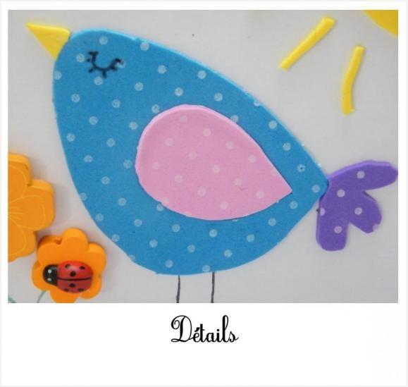 bricolage cr atif pour enfant tableau 3d oiseau activit s enfants pinterest. Black Bedroom Furniture Sets. Home Design Ideas