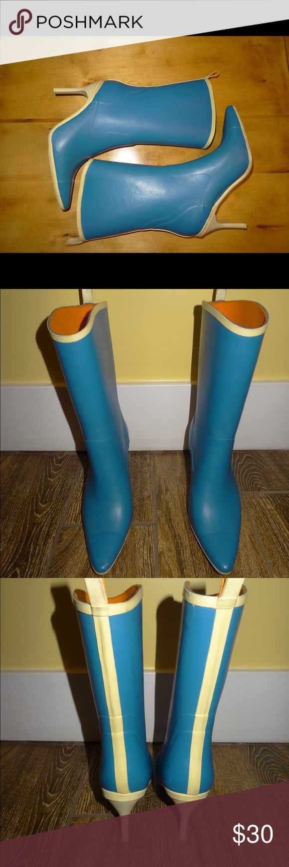 Kenneth Cole New York Blue Rubber Rain Boots 7 Kenneth Cole New York Blue Rubber Rain Boots High Heel Pointy Toe Mid Calf 7 Kenneth Cole Shoes Winter & Rain Boots