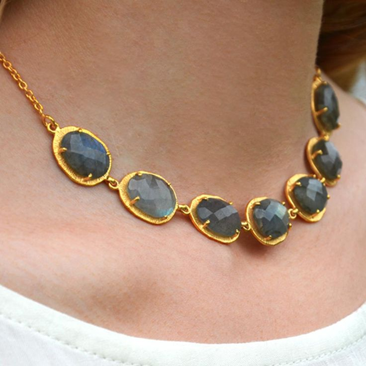 Cuff and Stone Gold Collar Necklace with Labradorite Gemstones