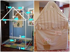DIY PVC Pipe House. I have used PVC pipe and the elbow connectors for a wall divider and a clothes rack and they are really easy to use!Tutorial from Angry Julie Monday here (photo on left), finished house using the same pipe and design from Sweetest Littles here (photo on right).