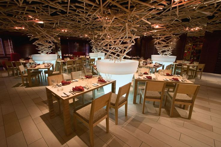 "Wood is a main theme of the interior design of Schepka ""Sliver"" Restaurant In Ufa, Russia."