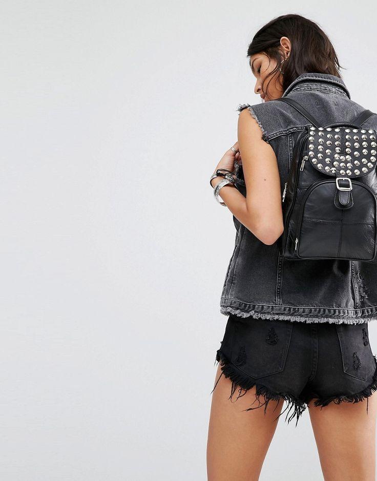 Изображение 3 из Кожаный рюкзак с шипами Reclaimed Vintage