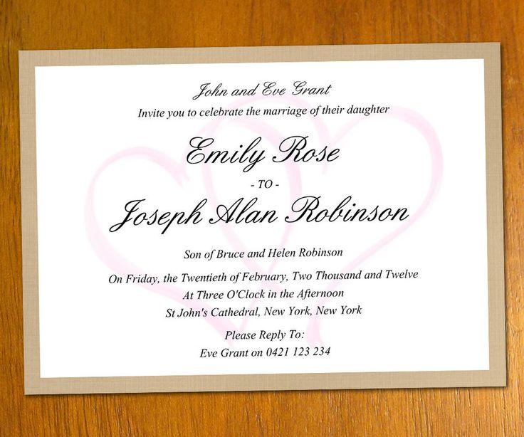 25 best ideas about Modern wedding invitation wording on – Sample Wedding Invitation Template