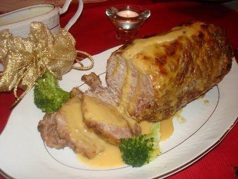 Redondo de cerdo con salsa de cebolla con brócoli - Recetas de Navidad / Roast Pork with Gravy - YouTube