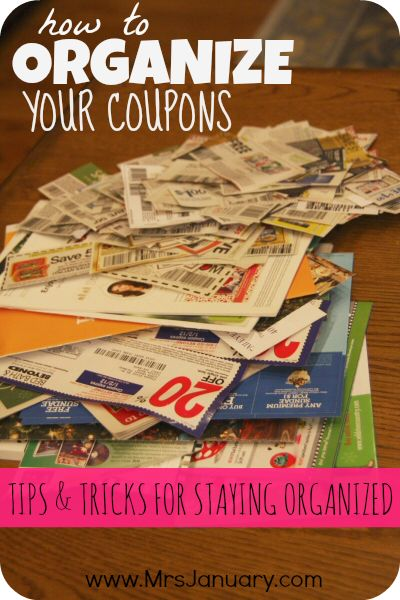 How to Organize Your Coupons via MrsJanuary.com - Lots of great tips for taking control of your coupons and getting them all organized (and keeping them organized, too!).