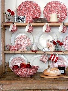 I HEART red dishes ... with white dishes ... and with blue transferware! Love floral and stripes too!