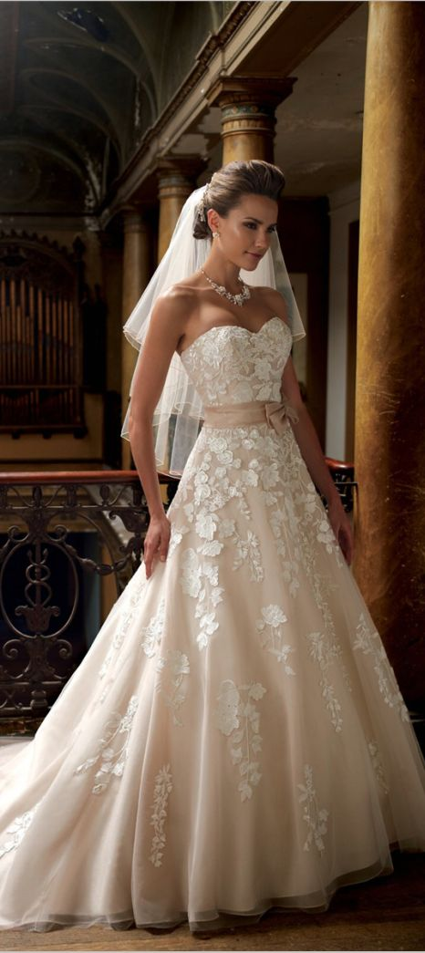 Simply stunning wedding dress. Love how it is slightly off white and more champagne in colour xx
